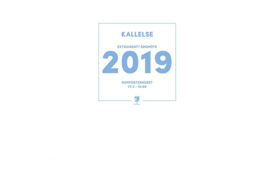 Kallelse extrainsatt årsmöte 2019